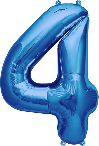16 inch Number 4 - Blue Air-Filled Foil Balloon - 1