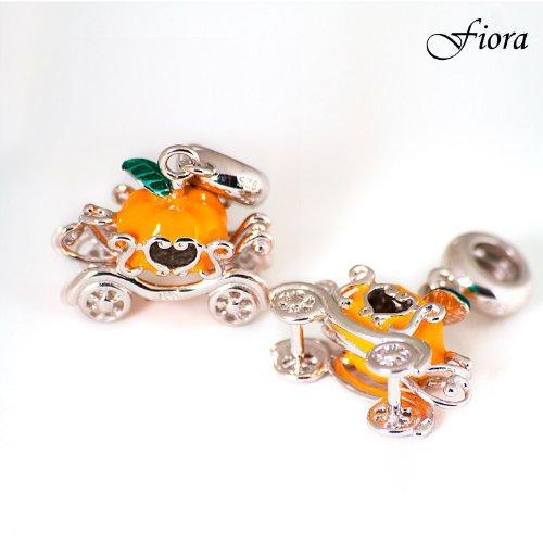Enamel Princess Pumpkin Carriage Dangle Charm- Fiora Italian Charms