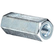 "12L14 Steel Coupling Nut, Zinc Plated Finish, Grade 2, Right Hand Threads, Corrosion Resistant, 5/16""-18 Threads, 5/8"" Width Across Flats (Pack of 30)"
