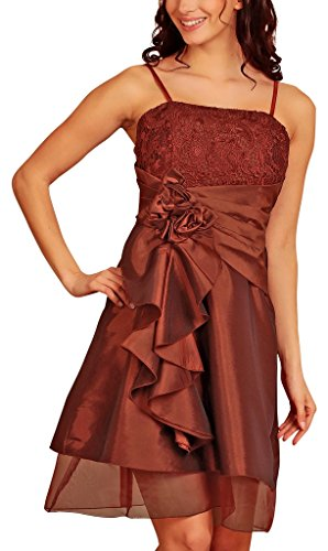 Knee Length Layered Evening Dresses Lace Taffeta Short Satin Flowers Party Cocktail Dress Womens Ladies Burgundy Size 14