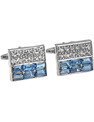 Cufflink-Tresure Sky Blue 92.5 CZ Sterling Silver Cufflinks For Men (CT909)