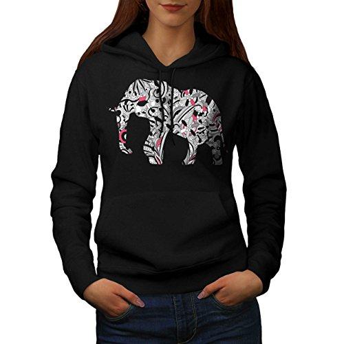 flower-power-elephant-crazy-print-women-new-black-xl-hoodie-wellcoda
