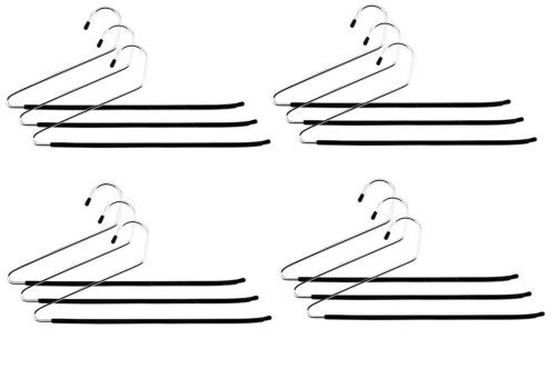 12 Pack Open Ended Pants Slack Closet Organizer Closet Hangers- Fights Creases!