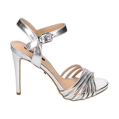 Donna Sandali HIGH HEELS Stilettos Cinghia Glitter effetto pelle, argento (argento), 38 EU
