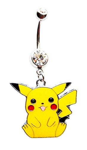 PIKACHU POKEMON CHARACTER Clear Navel Belly Button Ring Body Jewelry Piercing