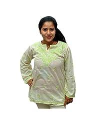 Odishabazaar Women's White Green Cotton Lakhnawi Chikankari Short Kurti