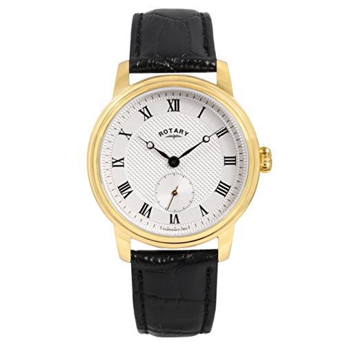 Rotary Timepieces Men's Quartz Watch with Silver Dial Analogue Display and Gold Leather Strap