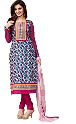 Vivacity Women's Cotton Unstitched Dress Material (Printed-07_Blue_Free Size)