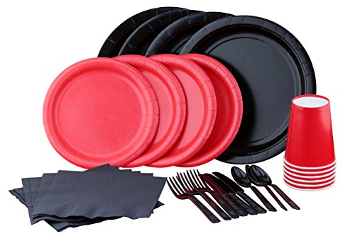 Red N' Black Party Set! Includes Plates, Napkins, Cups, Cutlery And Tablecover