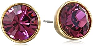 Kenneth Jay Lane Satin Gold and Amethyst Round Headlight Post Earrings