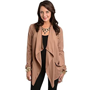 G2 Chic Women's Studded Draped Open Front Longline Cardigan Jacket(TOP-CGN,BRN-S)