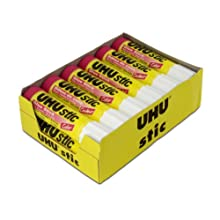 Saunders UHU Glue Stick, 0.74 oz., Purple, Pack of 12 (99602)