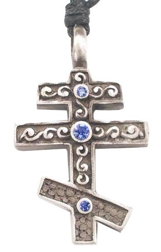 Eastern Orthodox Christian Cross Crystal Pewter Pendant