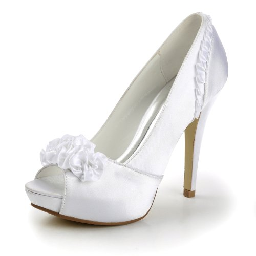 Minitoo Womens Peep Toe Stiletto Hight Heel Ruffles Flower Platform Ivory Evening Party Dress Club Bridal Wedding Satin Shoes Sandals 6 M Us