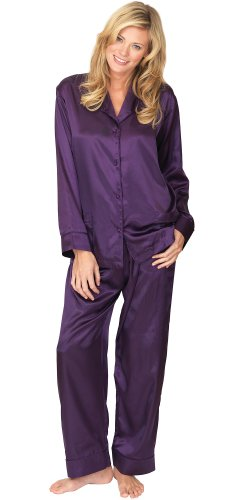 Plum Satin Pajamas