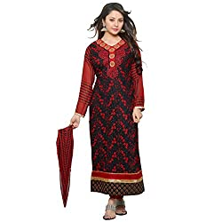 Ethnic Fashion Trendy Red & Black Coloured Embroidered Unstitched Georgette Dress Material With Dupatta