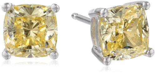 Platinum Plated Sterling Silver Cushion Cut Canary Yellow Cubic Zirconia Stud Earrings