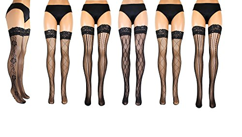 Women's 6 Pack Fishnet Thigh High Tights with Double Silicone Stripes