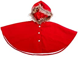 Girl\'s Stylish Cape in Warm Wool w/ a Cotton Shell & Fur Lined Hoodie, Red