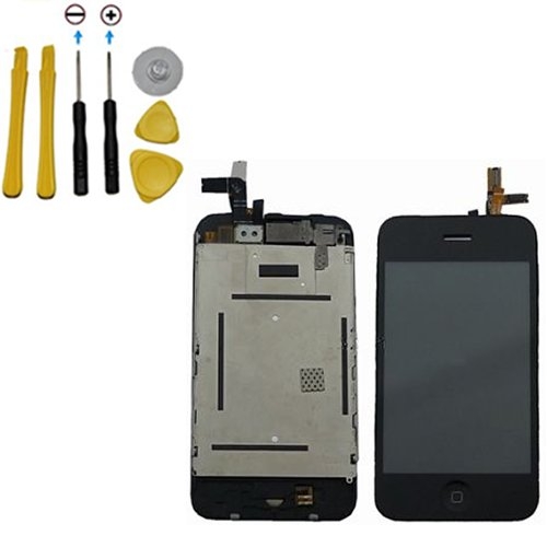 Yagadget Iphone 3Gs Lcd + Digitizer Full Assembly Replacement Screen + 7 Piece Tool Kit