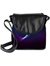 Snoogg Blue And Purple Ray In Black Background Womens Sling Bag Small Size Tote Bag