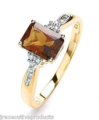 Yellow Gold Real Brown Quartz & Diamond Ring (size K - T available)