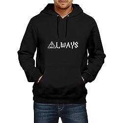 Fanideaz Men's Cotton Harry Potter Always Hoodies for Men (Premium Sweatshirt)_Black_S