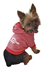 Ruff Ruff and Meow Dog Hoodie, Barkaholic, Red, Large