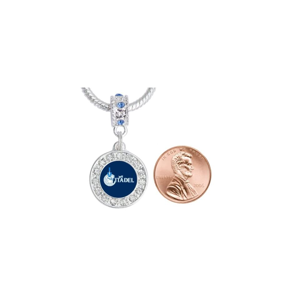 The Citadel, The Military College of South Carolina Crystal Charm Fits Most Bracelet Lines Including Pandora, Brighton, Chamilia, Troll, Biagi, Zable, Kera, Personality, Reflections, Silverado and More