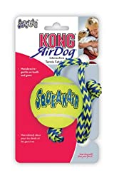 KONG Squeakair Tennis Ball With ROPE Medium Yellow Dog Fetch Toy (AST21)