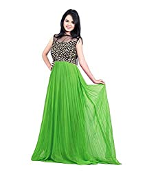 Bhoomi Creation Women's Designer Gerogette Westren Green Gown