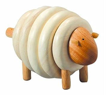 PlanToys - PT5150 - Jouet en bois - Jeu d'éveil - Mouton à Lacer