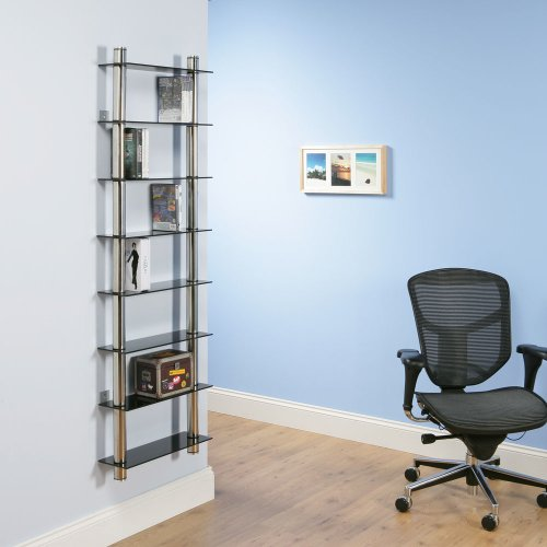 DVD Rack/Racks / Bookcase / glass shelving, Chrome, Wall Mounted Tall