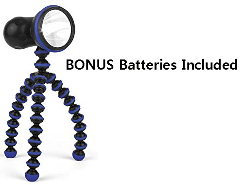 Gorillatorch Multi-Positioning Self-Standing Flashlight With 7 Brightness Levels With Adjustable Flexible Magnetic Tripod Stand And A Bonus 4Pk. Aa Batteries - Blue