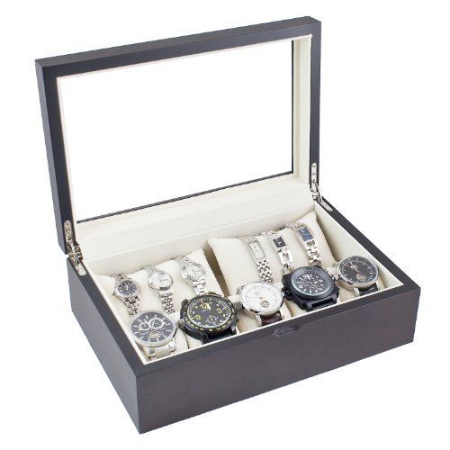 Caddy Bay Collection Dark Walnut Wood Watch Case Display Storage Box with Glass Viewing Top