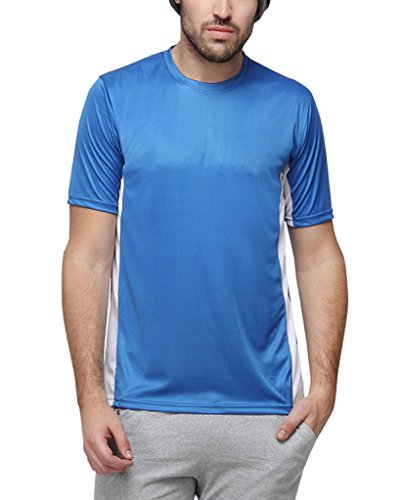 Campus Sutra Men Round Neck Dry-Fit Jersey(SS16DF_JRRNHSSD_M_PLN_RBWH_L)