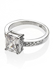 M&S Collection Platinum Plated Diamanté Baguette Ring
