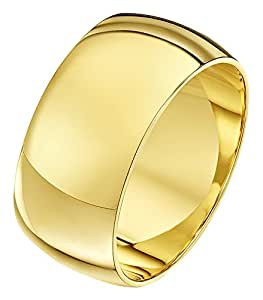 Theia Unisex 9ct Yellow Gold Super Heavy D Shape Polished 10mm Wedding Ring - Size P