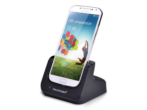 RAVPower Samsung GALAXY S4 i9500専用デュアル同期クレードル 同時データ転送、携帯本体と予備バッテリーを充電可能(ACアダプタ付属なし) RP-UC04