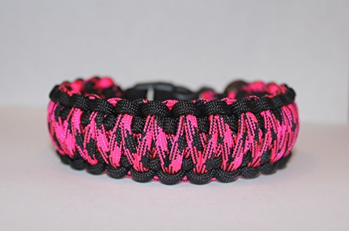 SENC-550-Military-Spec-Paracord-King-Cobra-Double-Wide-Survival-Bracelets-Hot-Pink-Camo