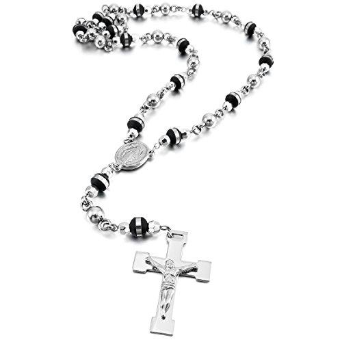 munkimix-acero-inoxidable-plastico-caucho-colgante-collar-plata-negro-jesus-cristo-crucifijo-cruzar-