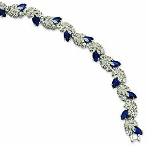 Silver-tone Swarovski Crystal Blue 7In with 1In extension Snowflake Bracelet