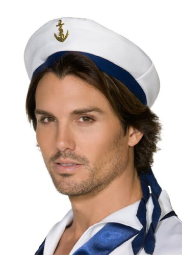 Smiffy's Men's Sailor Hat with Band and Anchor, White, One Size