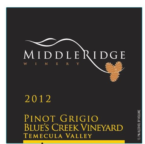 2012 Middle Ridge Winery Pinot Grigio Blue'S Creek Vineyard Temecula Valley 750 Ml