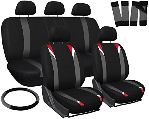 Oxgord 17pc Set Flat Cloth Mesh / Red, Gray & Black Auto Seat Covers Set - Airbag Compatible - Front Low Back Buckets - 50/50 or 60/40 Rear Split Bench - 5 Head Rests - Universal Fit for Car, Truck, Suv, or Van - FREE Steering Wheel Cover (Nissan Pathfinder Seats compare prices)
