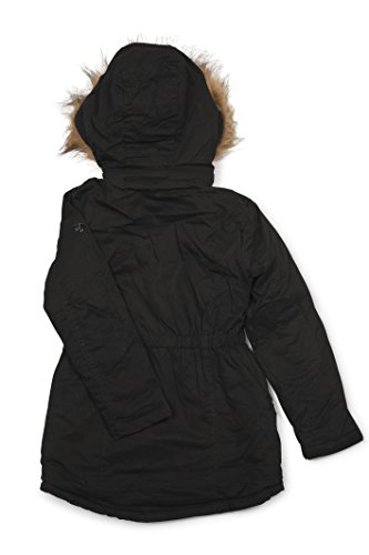 (5402) Urban Republic Big Girls Twill Anorak Lined Jacket With Hood in Black Size: 16
