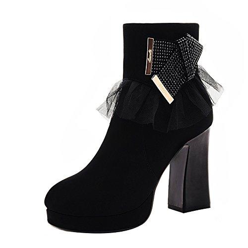 PerfectAZ Women Fashion Round Toe Lace Rhinestone Decorated Platform Chunky High Heel Ankle Boots(7 B(M) US, Black)