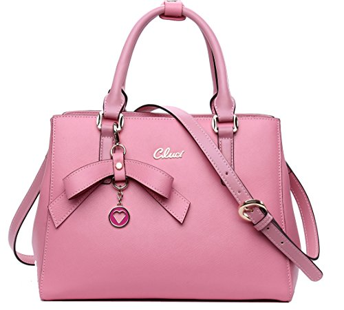 Image of CLUCI Cow Leather Handbags Daily Leisure Casual Top-handle Shoulder Bag for Women with Zipper Closure Pink