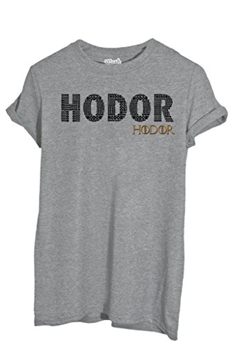 T-Shirt HODOR GAME OF THRONES - FILM by MUSH Dress Your Style - Uomo-M-GRIGIO SPORT