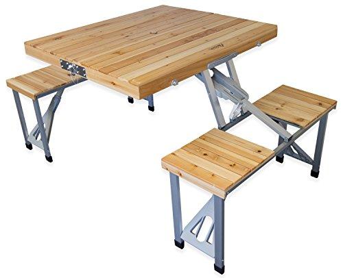 Andes-Camping-Mbelset-aus-Picknick-Tisch-und-Bnken-faltbar-transportabel-Holz